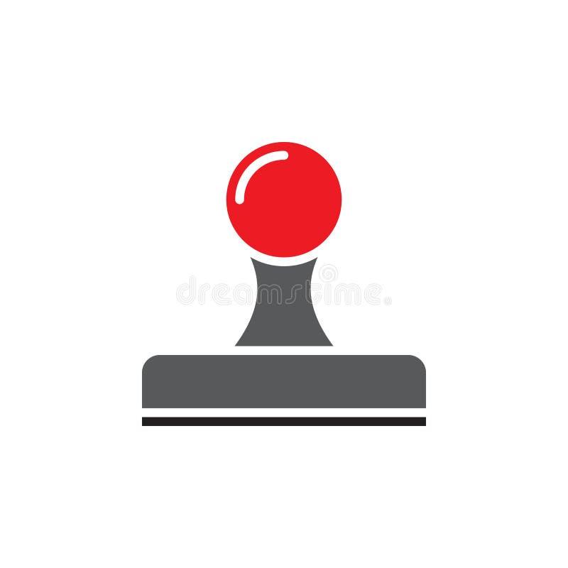 Symbolsvektor för Rubber stämpel, fast logo, pictogram som isoleras på vit royaltyfri illustrationer