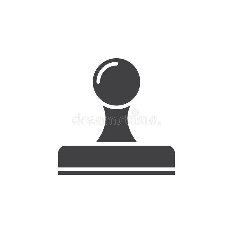 Symbolsvektor för Rubber stämpel, fast logo, pictogram som isoleras på vit vektor illustrationer