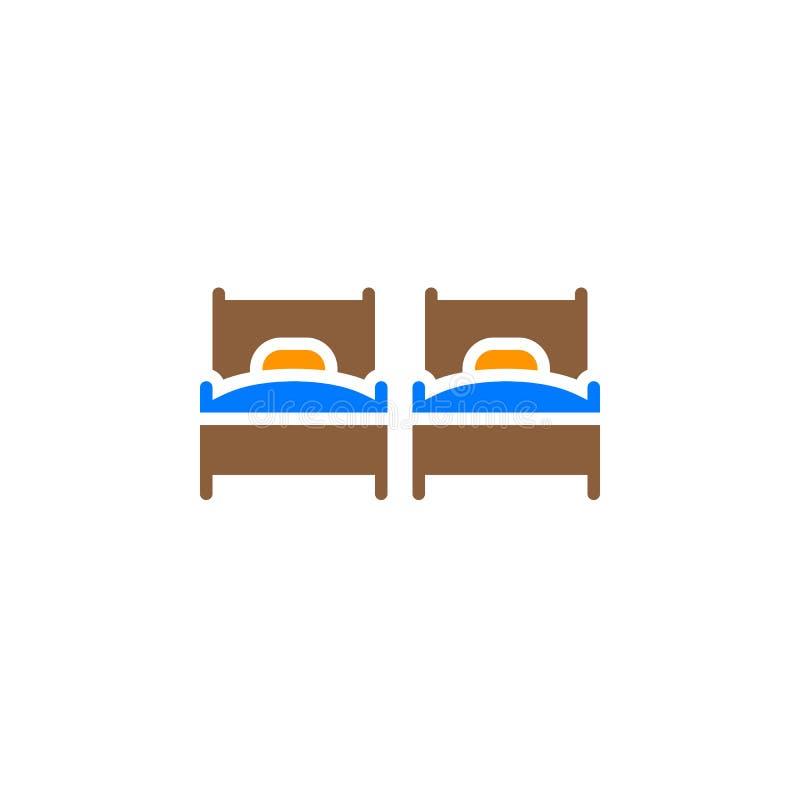 Symbolsvektor för två enkla sängar, fyllt plant tecken, fast färgrik pictogram som isoleras på vit vektor illustrationer