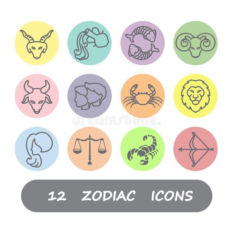 Symbolsvektor för 12 zodiak fotografering för bildbyråer