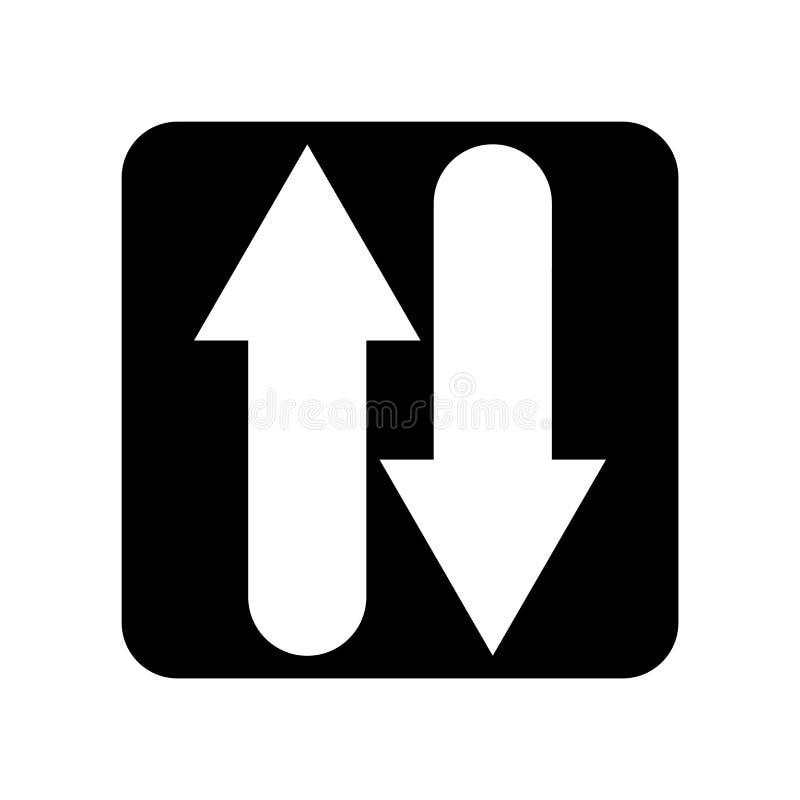 Symbolsvektorn för två vägar som isoleras på vit bakgrund, två vägar, undertecknar stock illustrationer