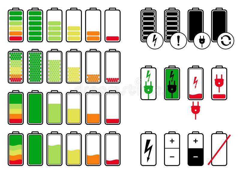_ Symbolsvektorupps?ttning Smartphone för batteri för olik laddning för symbol jämn, telefon, utrustning stock illustrationer