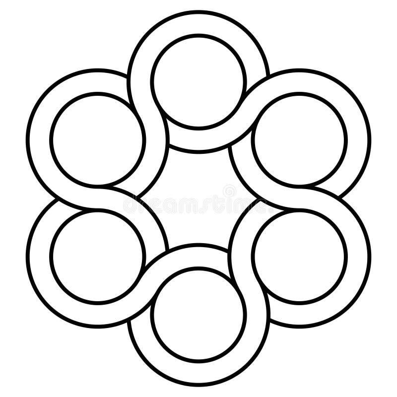 Symbolsventillogo som flätar samman cirklar, vektorsymbolklapp, begreppsvridningstatuering royaltyfri illustrationer