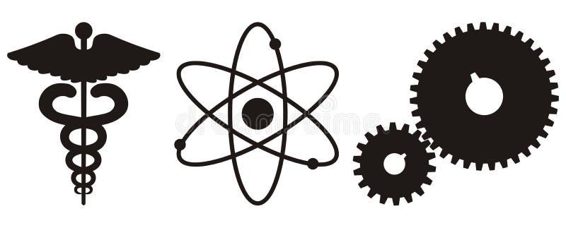 symbolsvetenskapsteknologi royaltyfri illustrationer