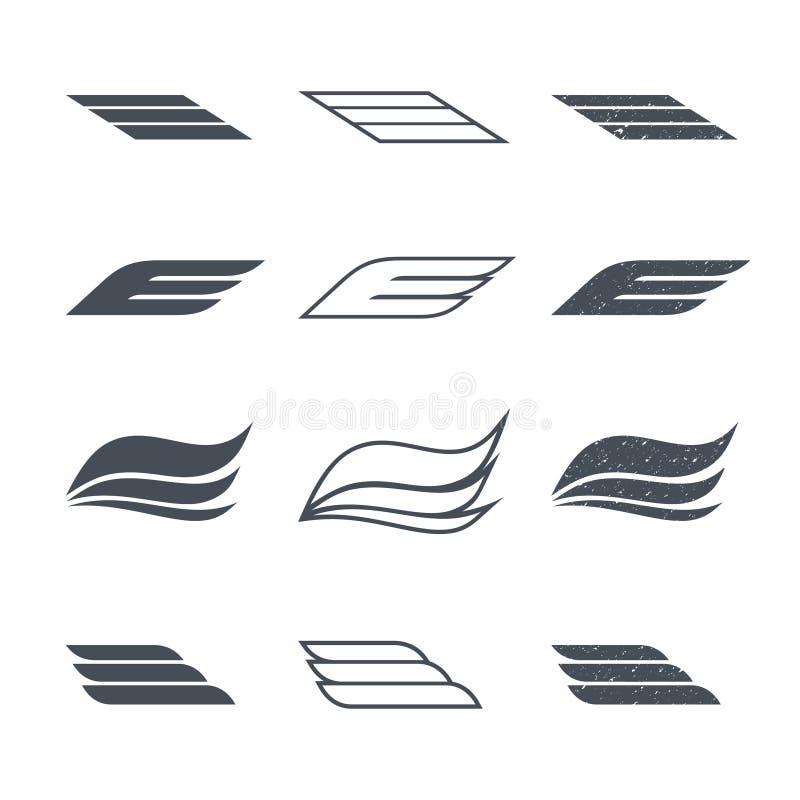 Symbolsvingar vektor illustrationer