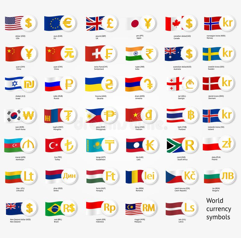 Symbolu światowy pieniądze z krajowymi okręg administracyjny flaga Wektorowe wymian walut ikony inkasowe ilustracja wektor