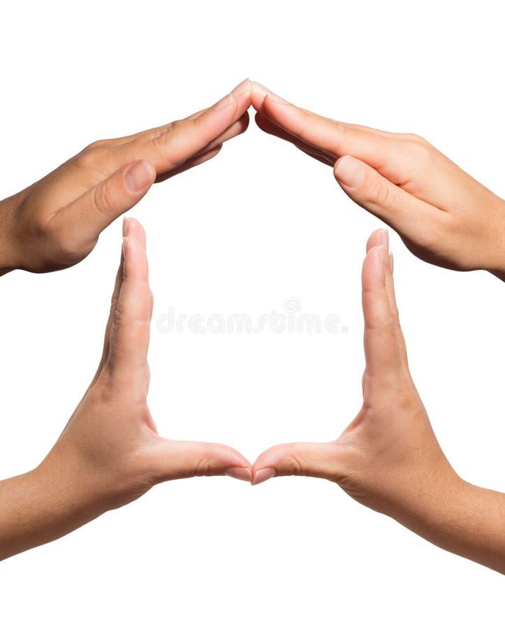 Symbolu dom gestykulujący z rękami fotografia stock