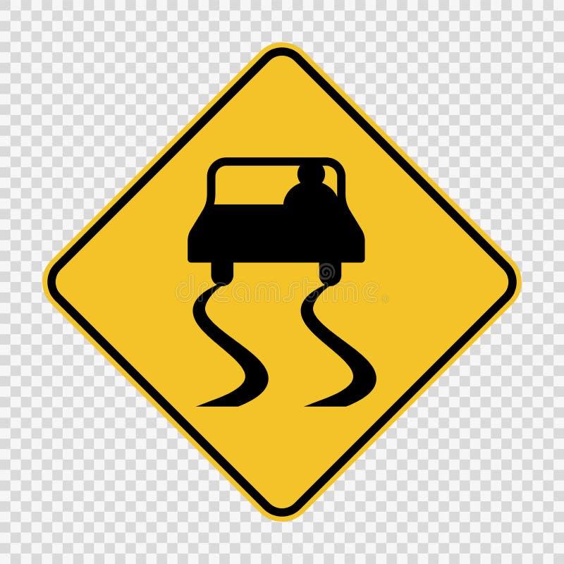 Symbolu drogowego znaka Śliski znak na przejrzystym tle ilustracji