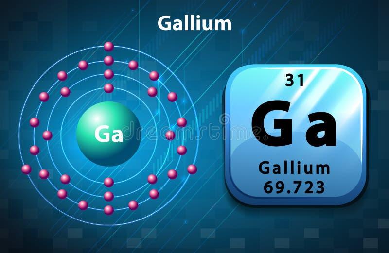 Symbolu i elektronu diagram dla gal ilustracja wektor