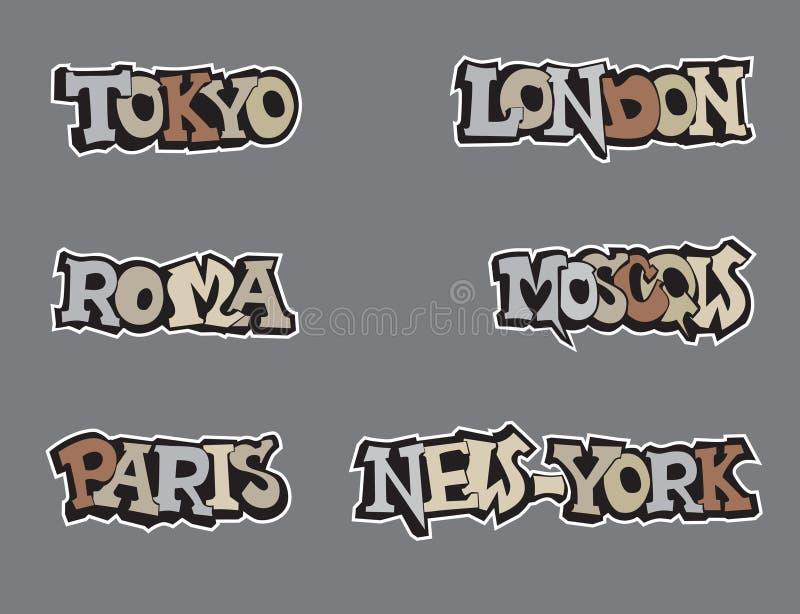 Symbolu miasta świat. Podróży ikony set. royalty ilustracja