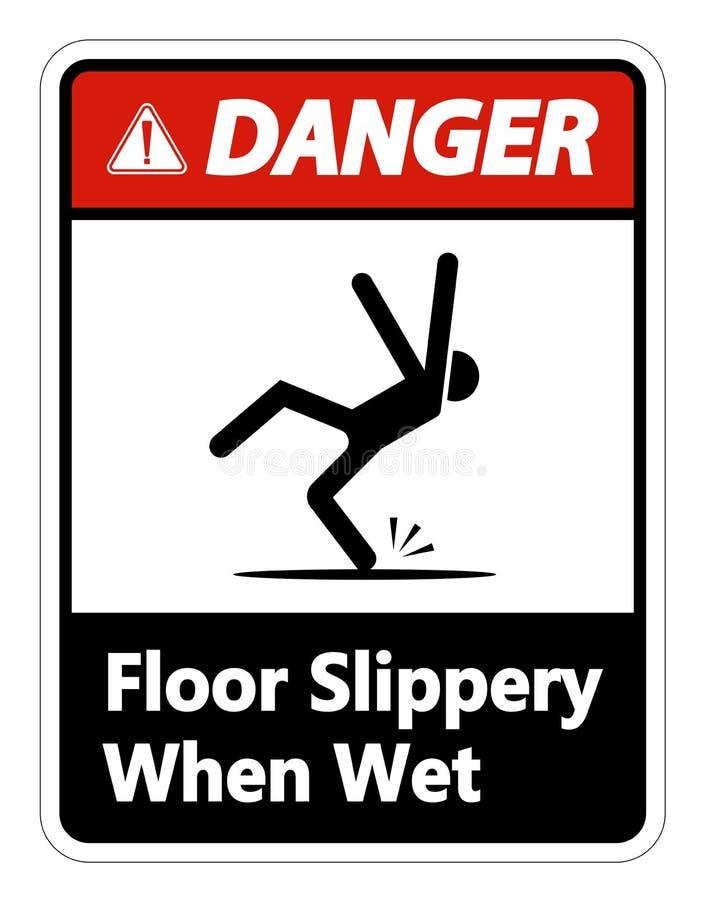 symbolu niebezpieczeństwo Śliski Gdy Mokry znak na białym tle ilustracji