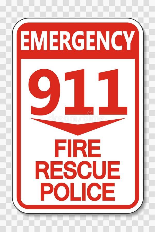 symbolu 911 ogienia Ratownicza policja Podpisuje na przejrzystym tle royalty ilustracja