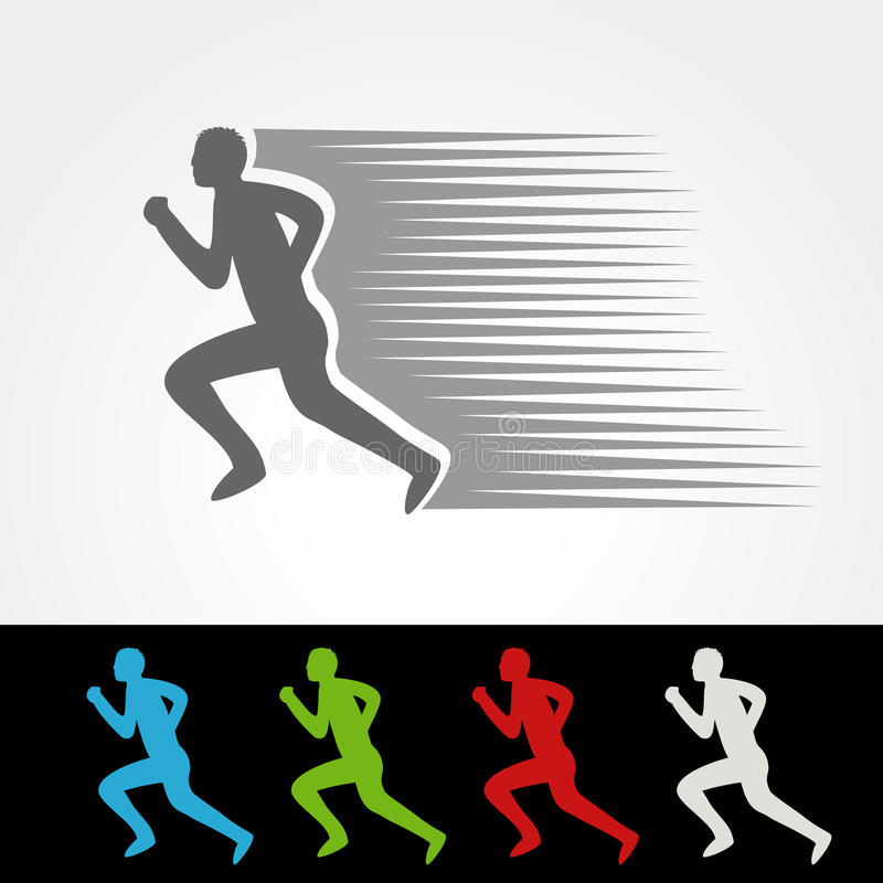 Symbolu tempo doręczeniowa ikona ściąganie i upload pakunku lub prędkości, sylwetka bieg mężczyzna, biegacz ilustracji