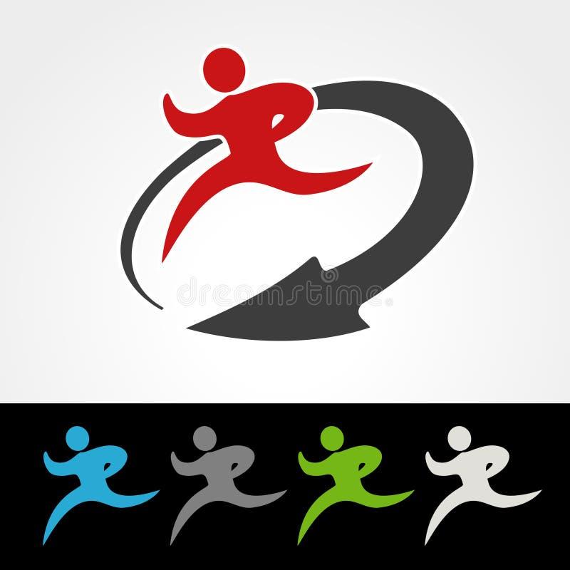Symbolu tempo doręczeniowa ikona ściąganie i upload pakunku lub prędkości, sylwetka bieg mężczyzna, biegacz z strzała ilustracja wektor