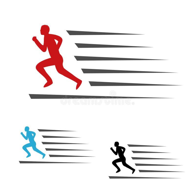 Symbolu tempo doręczeniowa ikona ściąganie i upload pakunku lub prędkości, symbol bieg mężczyzna, biegacz ilustracja wektor