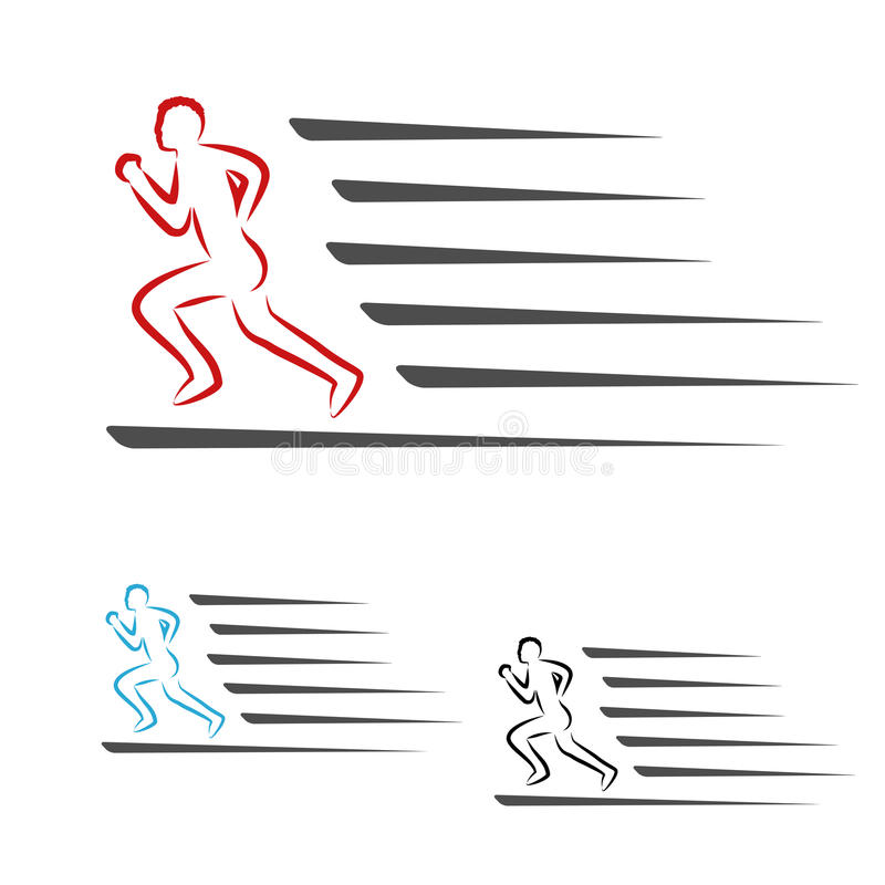 Symbolu tempo doręczeniowa ikona ściąganie i upload pakunku lub prędkości, symbol bieg mężczyzna, biegacz royalty ilustracja