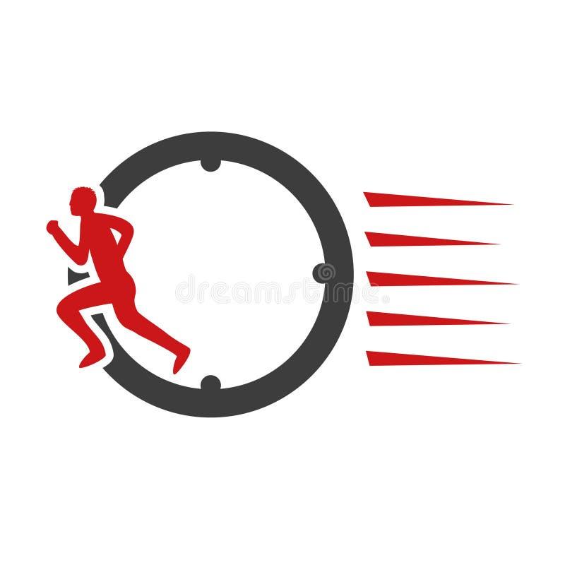 Symbolu tempo doręczeniowy pakunek, pudełko Ikona prędkość transport Osiąga z znakiem biegacz, biega mężczyzna ilustracji