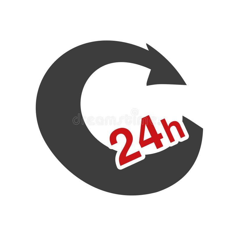 Symbolu tempo doręczeniowy pakunek, pudełko Ikona prędkość transport Strzała z znakiem 24 godziny royalty ilustracja