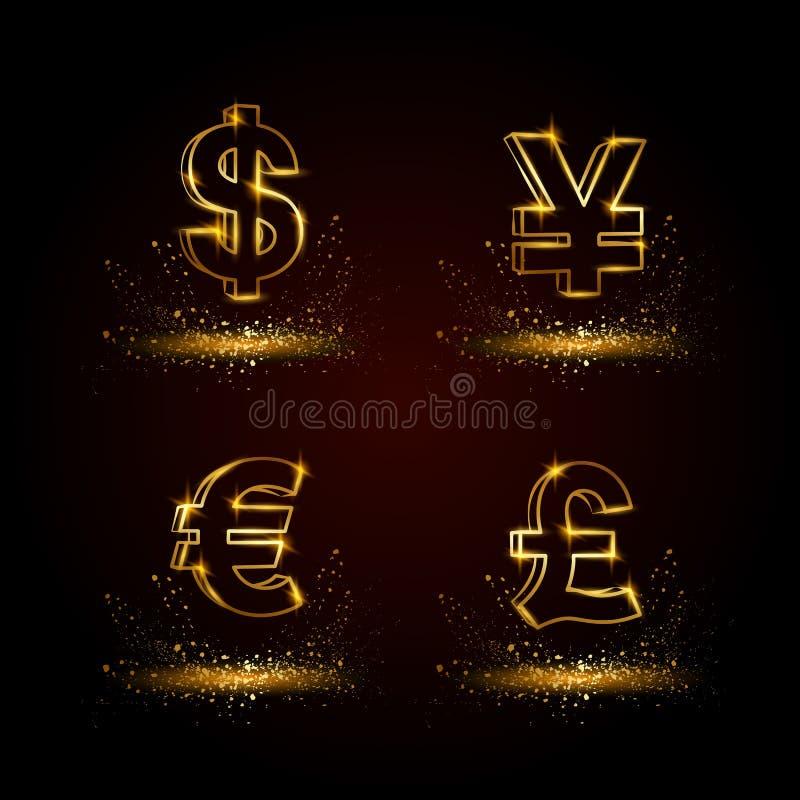 Symboluppsättning för guld- valuta Linjär vektorillustration för valuta på en svart bakgrund stock illustrationer
