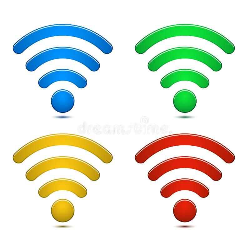 Symboluppsättning för trådlöst nätverk vektor illustrationer