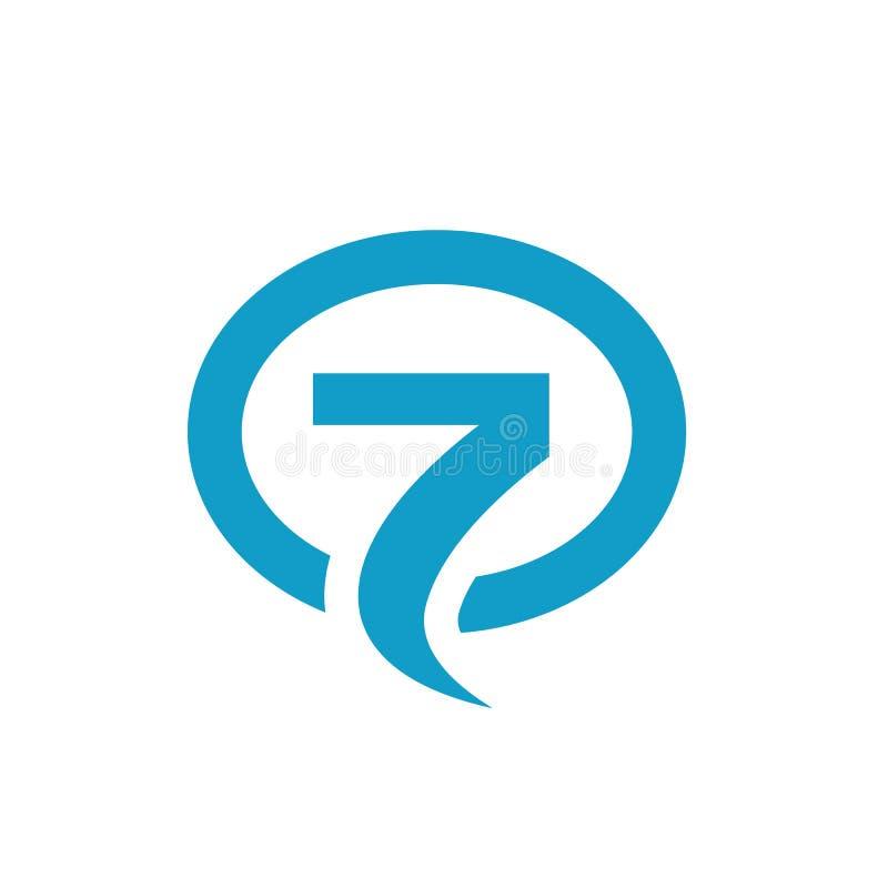 Symbool Nummer Zeven, met Ellipsvorm wordt samengevoegd, Vectorillustratie die royalty-vrije illustratie