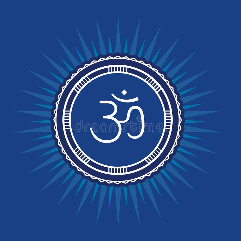 Symbool Om Vector vierkante vlakke illustratie - voor yogastudio Symbool van energiecentrum van menselijk lichaam vector illustratie