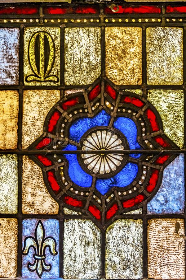 Symbool Patterns Sined Glass Saint Mary & x27; de katholieke kerk San Antonio Texas stock foto