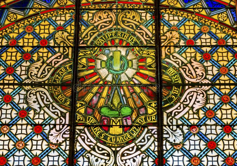 Symbool Patterns Sined Glass Saint Mary & x27; de katholieke kerk San Antonio Texas royalty-vrije stock foto's