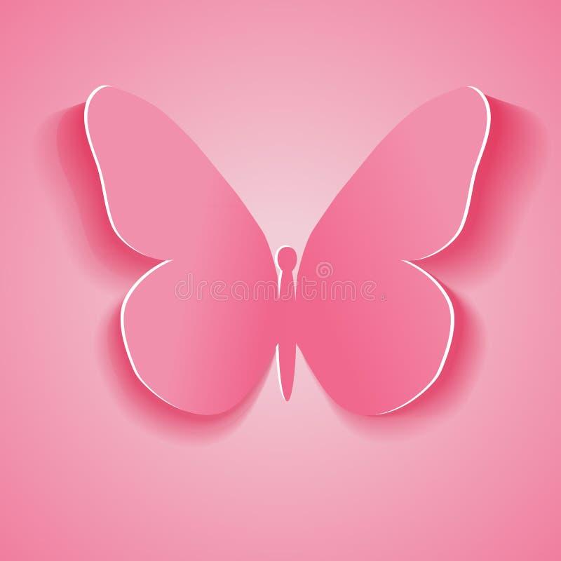 Symbool roze die vlinder van document wordt verwijderd. Vectorillustratie Eps stock illustratie