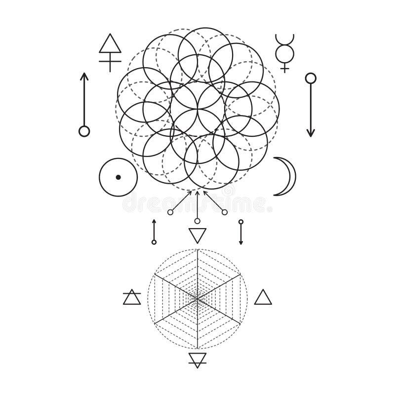 Symbool van alchimie en heilige meetkunde Drie maken klaar: geest, ziel, lichaam en 4 basiselementen: Aarde, Water, Lucht, Brand stock illustratie