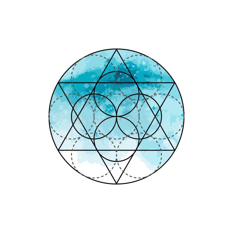 Symbool van alchimie en heilige meetkunde op de blauwe waterverfachtergrond Lineaire karakterillustratie voor lijnentatoegering o royalty-vrije illustratie