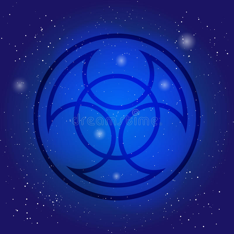 Symbool van alchimie en heilige meetkunde op kosmische hemelachtergrond Kernteken Geheim pictogram in ruimte stock illustratie