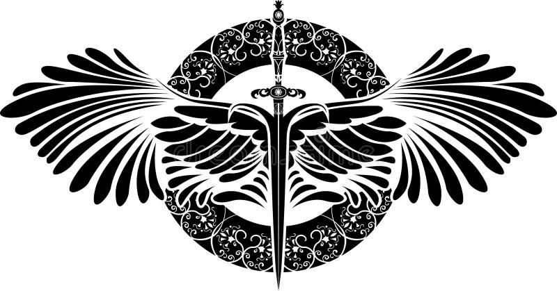 Symbool van bescherming, zwaard met vleugels royalty-vrije illustratie