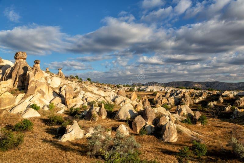 Symbool van Cappadocia - Fairy Chimney of Multihead stone paddenstoelen in Pasabag Valley, Anatolië, royalty-vrije stock foto's