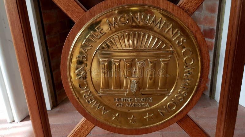 Symbool van de Amerikaanse Commissie van Slagmonumenten in Florence American Cemetery en Herdenkings, Florence, Toscani?, Itali? stock foto