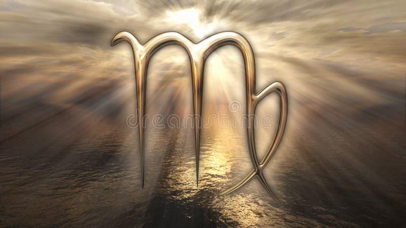 Symbool van de de horoscoopmaagd van de mysticus het gouden dierenriem het 3d teruggeven stock illustratie