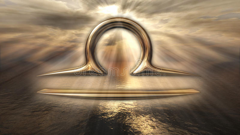 Symbool van de de horoscoopweegschaal van de mysticus het gouden dierenriem het 3d teruggeven royalty-vrije illustratie