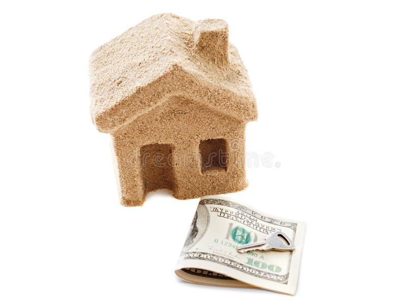 Symbool van de de huishuur en verkoop Geïsoleerdj op witte achtergrond stock afbeelding