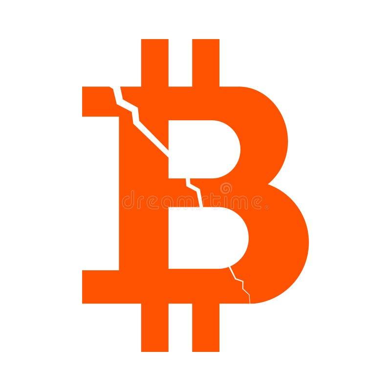 Symbool van de digitale crypto munt bitcoin met een barst van de hogere linkerhoek, zwart-wit sinaasappel royalty-vrije illustratie