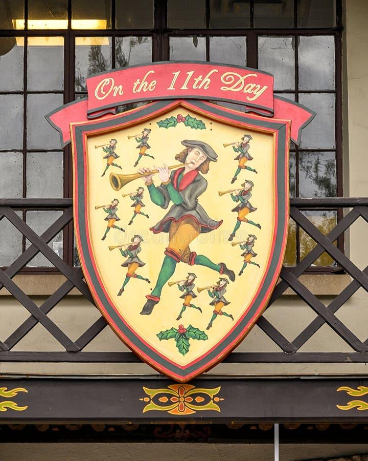Symbool van de elfde dag van de beroemde 'De Twaalf Dagen van Kerstmis', een liedje met twaalf verzen die elk een geschenk beschr stock foto