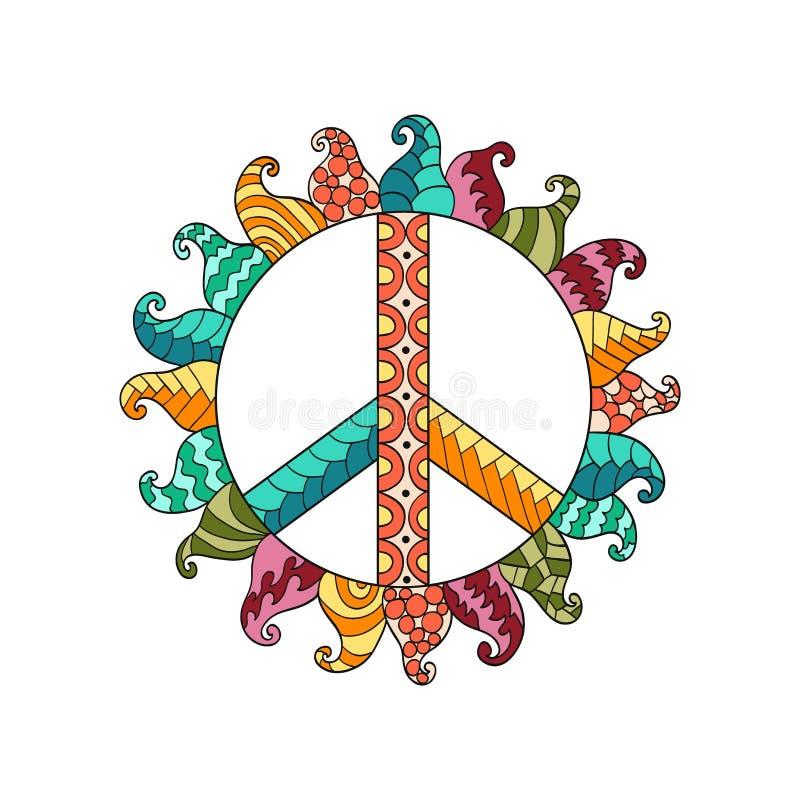 Symbool van de hippie het uitstekende vrede in zentanglestijl vector illustratie