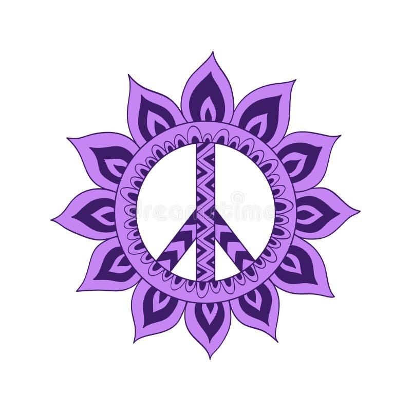 Symbool van de hippie het uitstekende vrede in zentanglestijl royalty-vrije illustratie