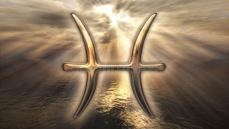 Symbool van de horoscoopvissen van de mysticus het gouden dierenriem het 3d teruggeven royalty-vrije illustratie