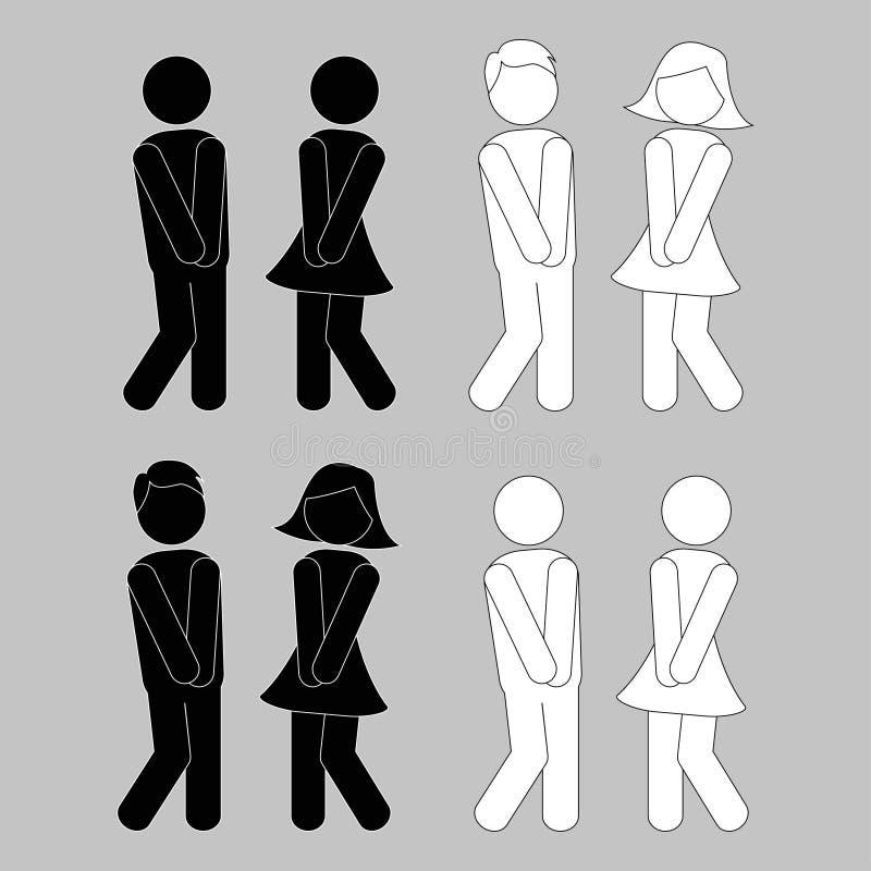 symbool van de mens, vrouw, jongen, meisje Jongen en meisjestoiletpictogrammen stock illustratie