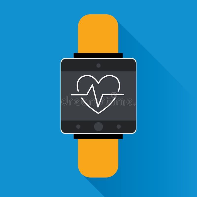 Symbool van de Smartwatch sloeg wearable technologie met pictogram voor het hart van de geschiktheidsdrijver monitortoepassing Ve royalty-vrije illustratie