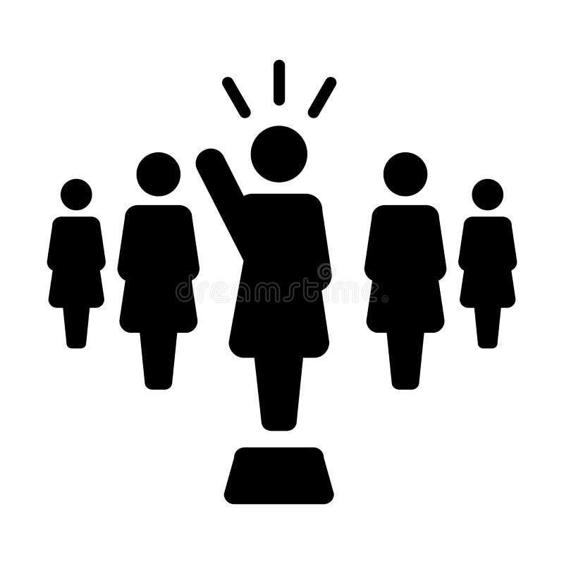 Symbool van de de sprekerspersoon van leidersIcon dient het vector vrouwelijke openbare voor leiding met opgeheven glyph pictogra stock illustratie