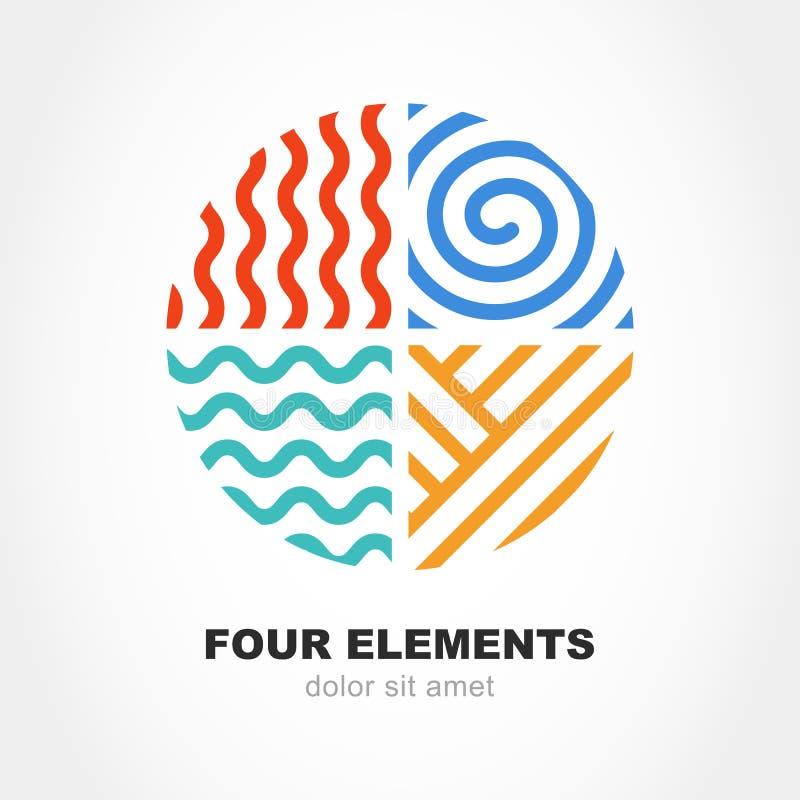 Symbool van de vier elementen het eenvoudige lijn in cirkelvorm Vectorembleem DE stock illustratie