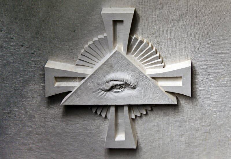 Symbool van de Vrijmetselaars- Tempel stock afbeelding