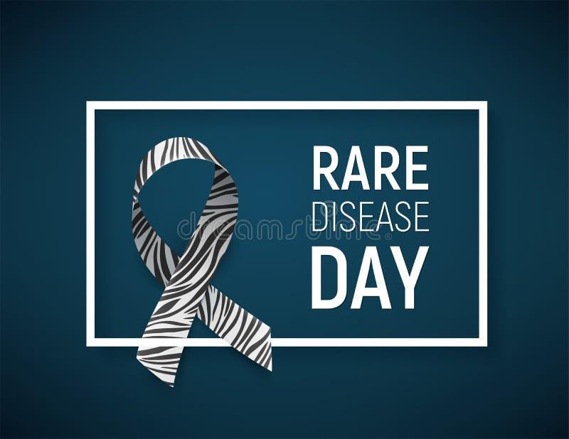 Symbool van de zeldzame dag van de ziektevoorlichting, lint met gestreept-druk stock illustratie