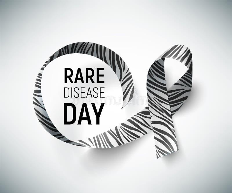 Symbool van de zeldzame dag van de ziektevoorlichting, lint met gestreept-druk royalty-vrije illustratie